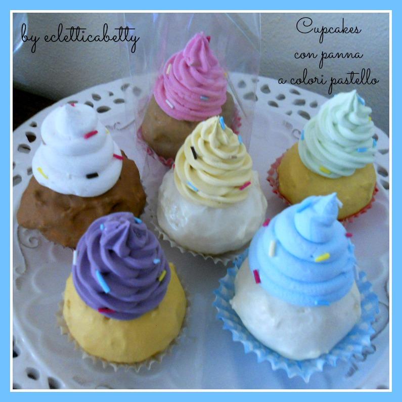cupcakes con panna pastello