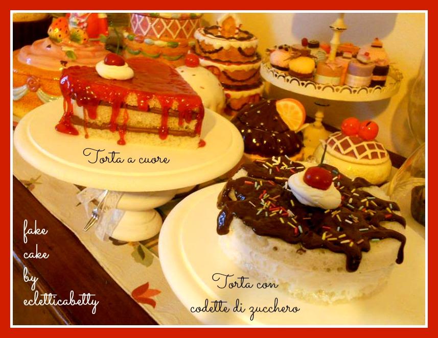 torta a cuore e torta con codette di zucchero