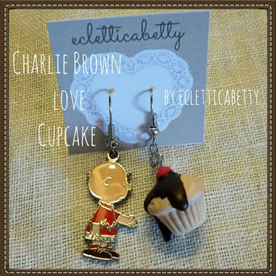 charlie brown love cupcake earrings