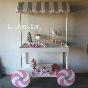 Carretto per Party b/rosa 100x52x185 cm su ordinazione