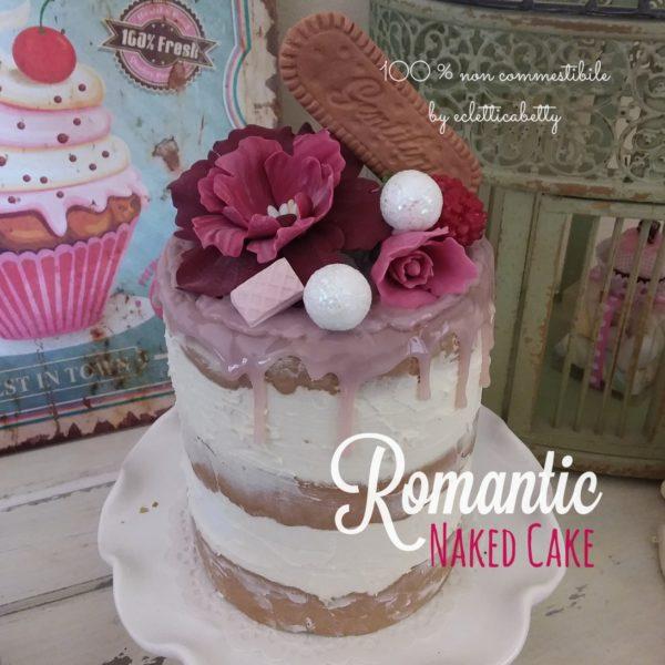 Romantic naked cake