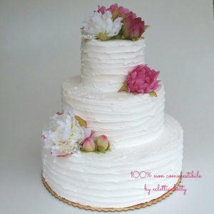 Toutjour Wedding cake bianca con fiori