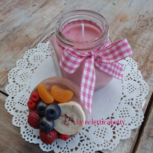 Barattolino Crostata con candela Tutti Frutti