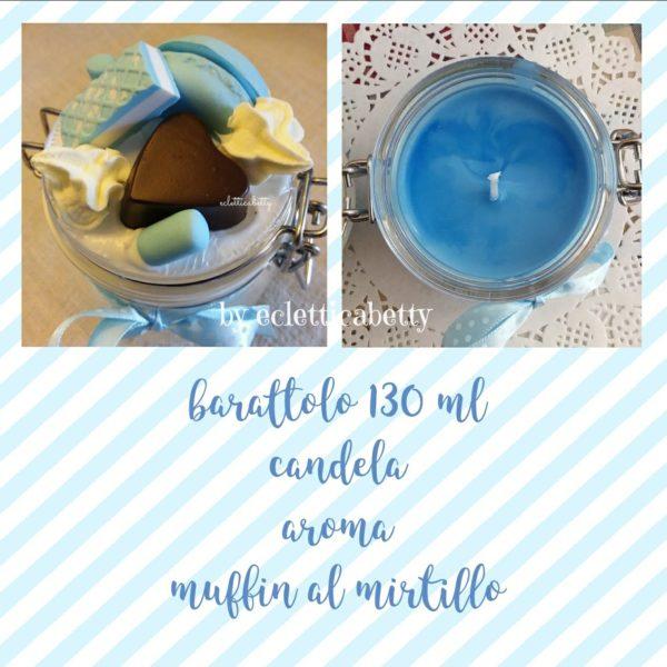 Barattolo 130 ml con candela Muffin al mirtillo