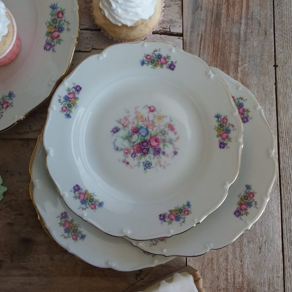 Set 4 piatti Flowers Vintage