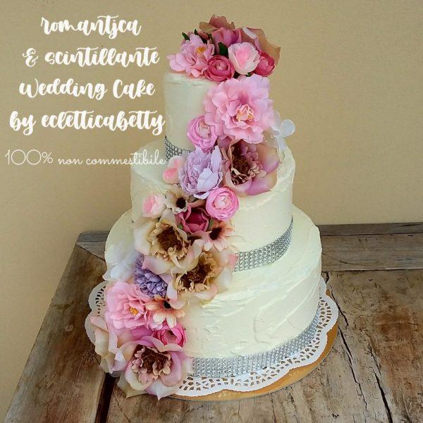 Wedding cake burro con fiori sfumati