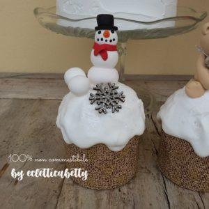 Piccolo Panettone glassato con Pupazzo di neve
