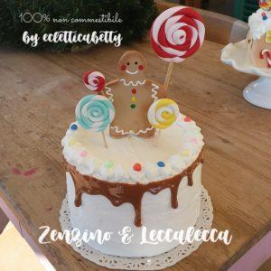 Torta Omino di zenzero e lecca lecca 15 cm