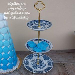 Alzatina 3 piani Blu Vintage