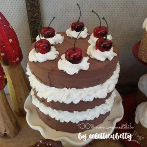 Torta triplo cioccolato, panna e ciliegie 16 cm
